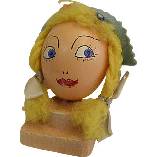Vintage Hand Painted Egg Head Little Milkmaid or Dutch Girl