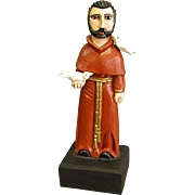 Carved Painted Wood Statue of St. Francis of Assisi