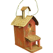 Rustic Homemade Birdhouse Equipped with Bird Nest