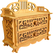 Small Scroll Cut Wood Cabinet for Doll or Jewelry