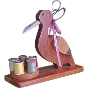 Vintage Wooden Sewing Bird Caddy with Keen Kutter Scissors