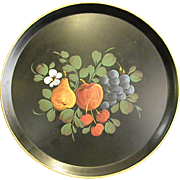 Wonderful Round Metal Tole Tray with Fruit Design