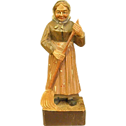 Wonderful Hand Carved Wood Figure Country Woman Sweeping