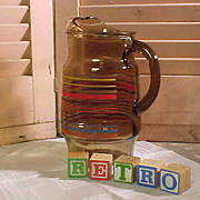Retro  Amber Glass Pitcher from the 1950s