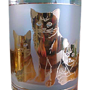 Wonderful Set of Culver Tumblers with Gold Cat Decoration