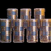 1950s Culver Tumblers in Blue Prado Pattern 22K Gold