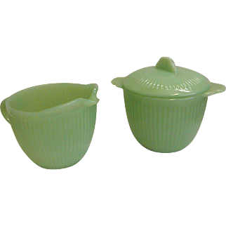 Jane Ray Fire King Jadeite Creamer and Lidded Sugar
