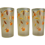 Vintage Autumn Leaf Jewel Tea Frosted Tumblers