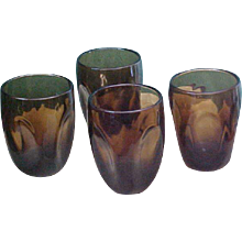 Mid-Century Russel Wright Brown Pinch Tumblers Glasses by Imperial