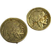 Clip-on Earrings Made of Genuine Buffalo/Indian Head Nickels