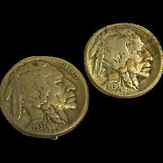 Clip-on Earrings Made of Genuine Buffalo/Indian Head Nickels