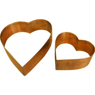 Set of Solid Copper Heart-shaped Cookie Cutters