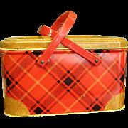 Cheery Red Plaid 1950s NC Colorware Metal Picnic Basket Box