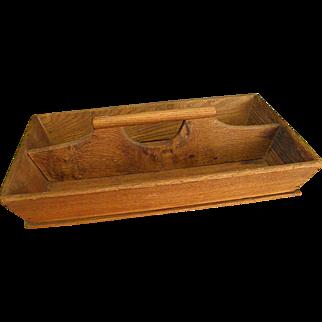 Rustic Wooden Divided Utensil Tote