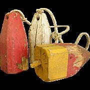 Wonderfully Worn Set of Three Wooden Lobster Buoys