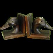 Rustic Wooden Duck Bookends
