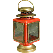 Cute Vintage Red Metal and Brass Finish Lantern