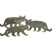 Set of Three Hand Cut Sheet Metal Cats with Marble Eyes