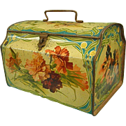 Darling Old Lidded Tin with Handle Colorful Polychrome