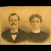 Rare Edwardian Era Framed Large Photo of Inter-Racial Couple