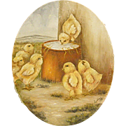 Cute Oval Oil Painting of Baby Chicks