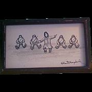 Wonderful Vintage Pen and Ink Drawing by Eskimo Artist Robert Mayokok