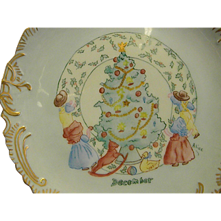 Precious Hand Painted Signed Christmas Plate Children around the Tree