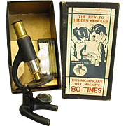 1930s Cast Iron and Brass Microscope for Youth