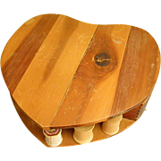 Heart-Shaped Wooden Sewing Box or Vanity Box