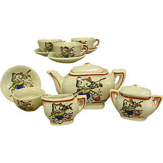 1950s Toy/Child's China Tea Set with Cute Elephant