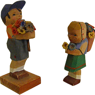 Vintage Erzgebirge East German Emil Helbig Workshop Boy and Girl