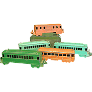Set of Five 1950s Midgetoy Train Cars