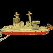 Miniature Wooden Putz-Style Ship