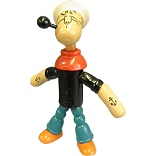 1930s Articulated Wooden Jointed Popeye Toy by Jaymar
