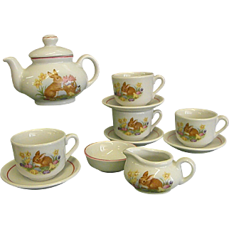 Charming Little Child's Roehler Tea Set with Bunnies