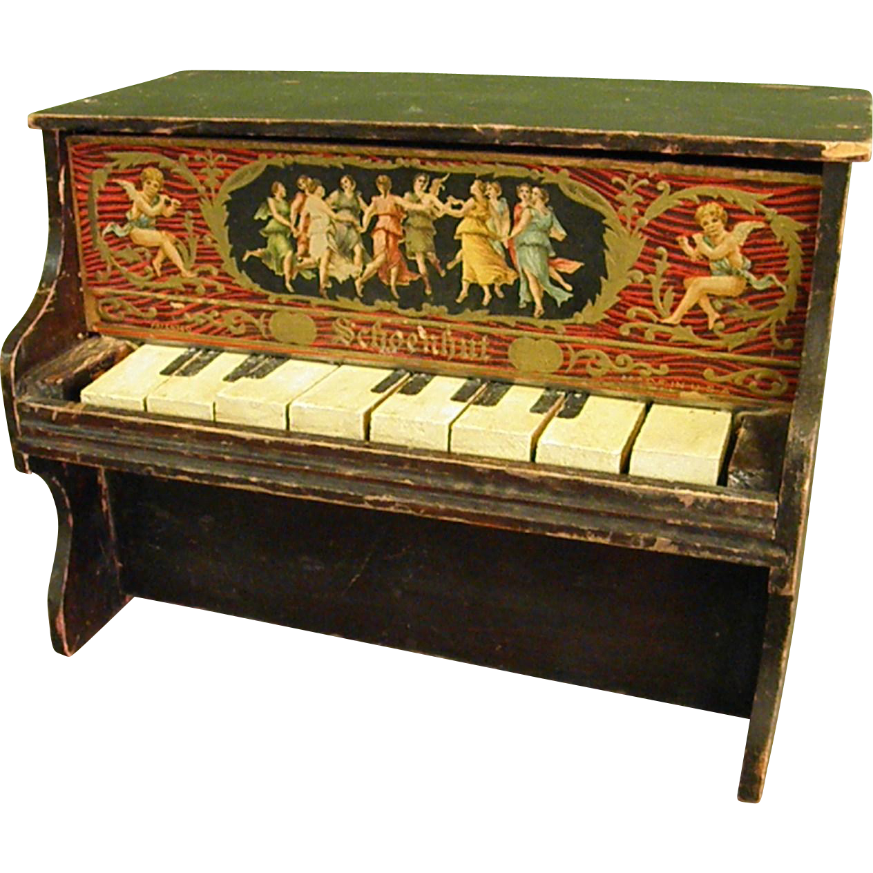 Fantastic Antique Schoenhut Wooden Toy Piano From