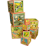 Set of Ten German Paper Lithograph Nesting Wood Boxes