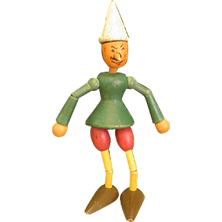 1930s Articulated Wooden Jointed Pinocchio Toy