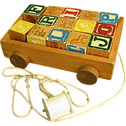 Cute Wooden Wagon with Old ABC Blocks