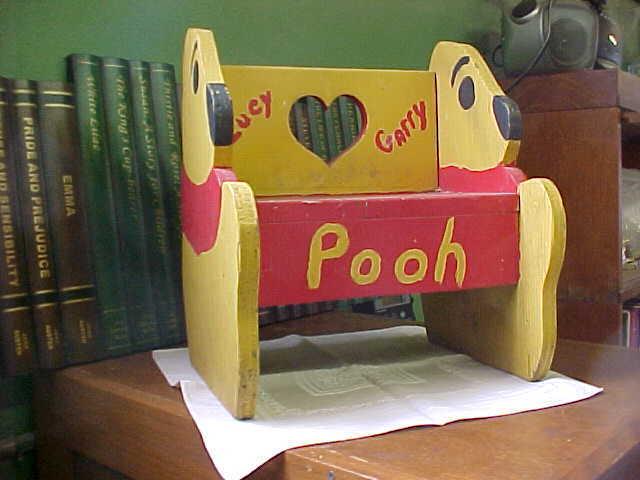 """Vintage Handmade Child's """"Winnie the Pooh"""" Stool"""