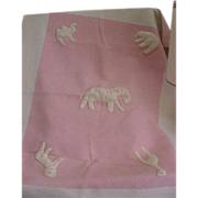 Darling 1950s Felted Pink and White Baby Blanket
