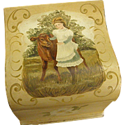 Tin Collar Box with Tole Painted Bucolic Scene