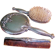 Sterling Vanity Dresser Mirror, Comb and Brush Set