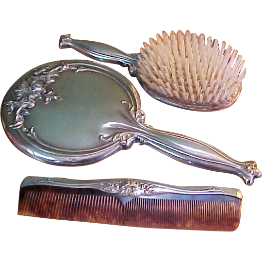 Sterling Vanity Dresser Mirror Comb And Brush Set Sold On