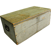 Old Painted Wooden Box with Iron Handles and Square Nails