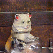 Cute Rare Chalkware Cat with Fishbowl