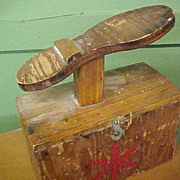 Primitive Homemade Wooden Shoeshine Box