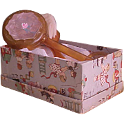 1920s Celluloid Baby Rattle and Hair Brush in Vintage Box