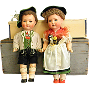 Darling Pair of Schoenau & Hoffmeister Character Dolls in Bavarian Clothes