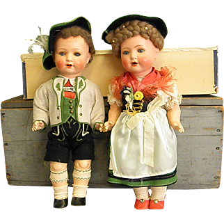 Darling Pair of Schoenau & Hoffmeister Character Dolls in Bavarian Clothes